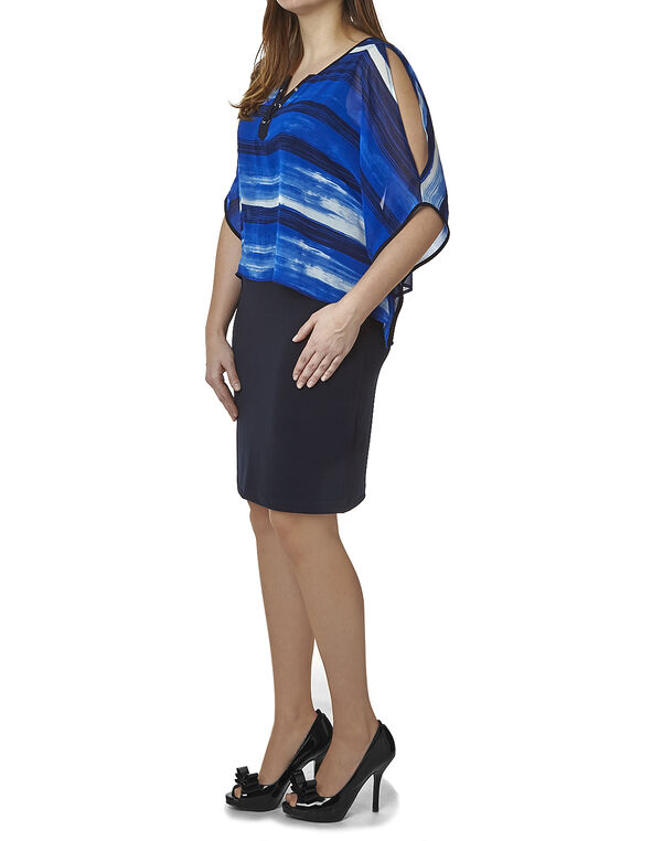 Cobalt Pop-Over Shift Dress, Cobalt, hi-res