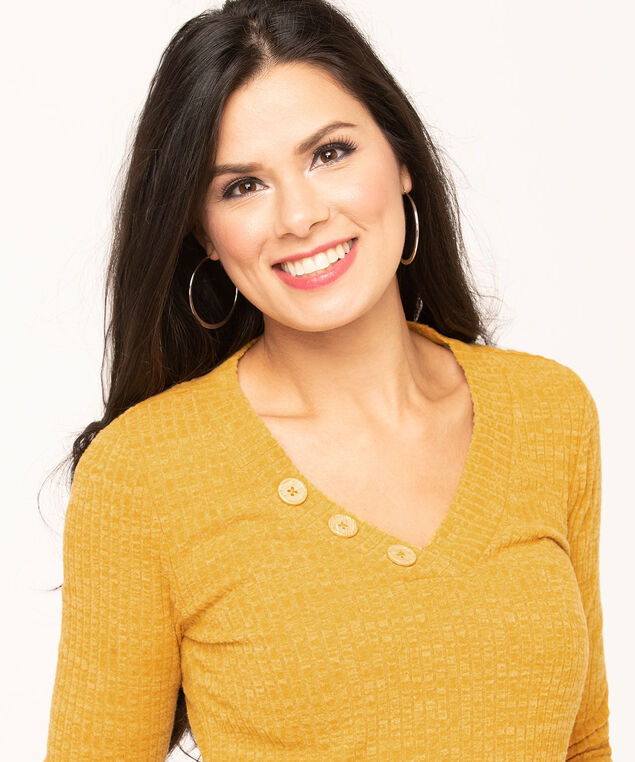 Gold V-Neck Ribbed Pullover, Gold, hi-res