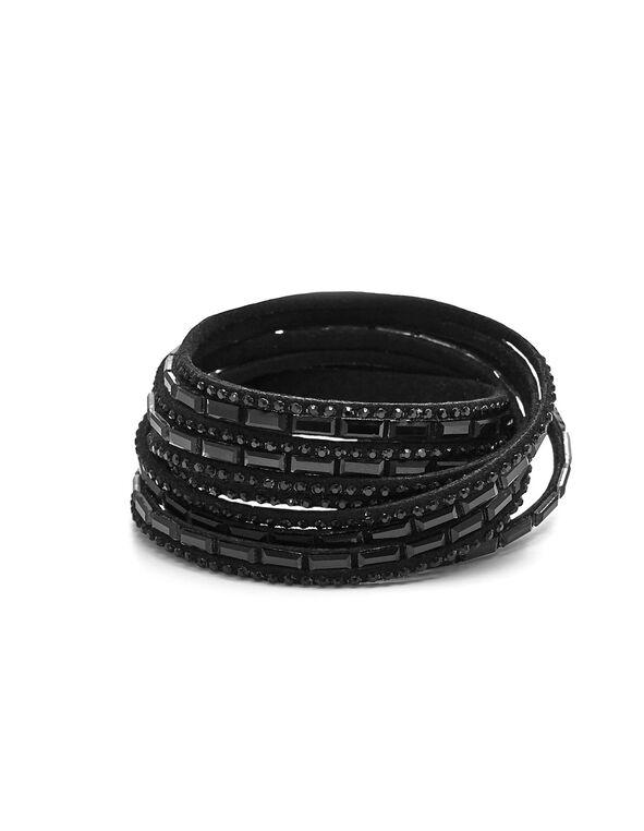 Black Suede Wrap Bracelet, Black, hi-res
