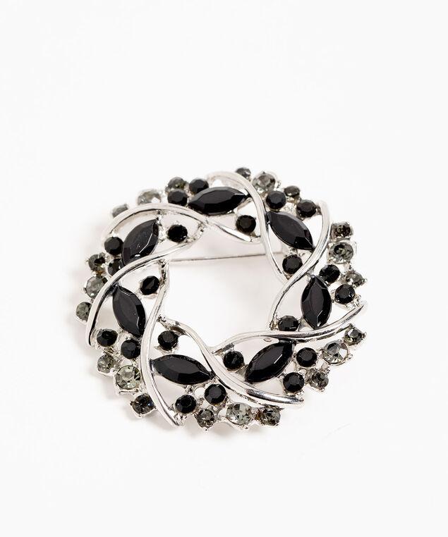 Silver & Black Crystal Pin, Silver/Black