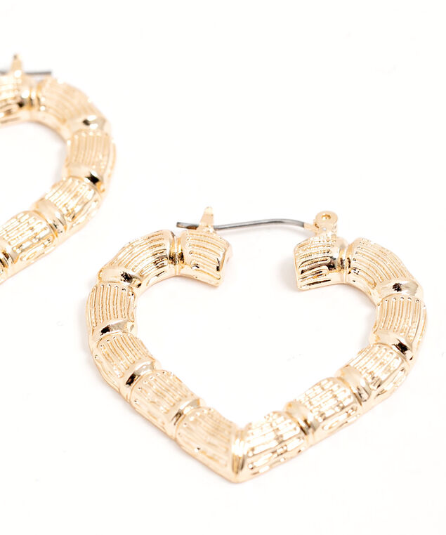 Heart Shaped Textured Hoops, Gold