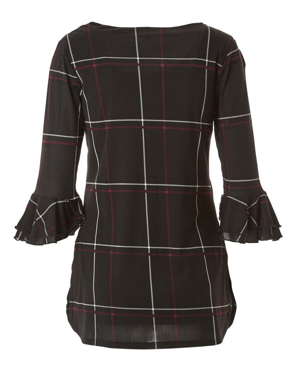 Black Plaid Mesh Tunic Top, Black, hi-res