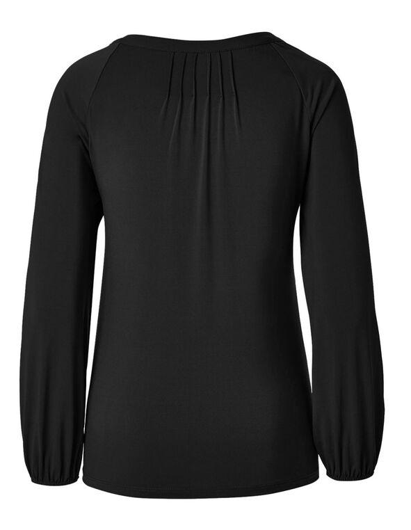 Black Mesh Embroidered Top, Black, hi-res