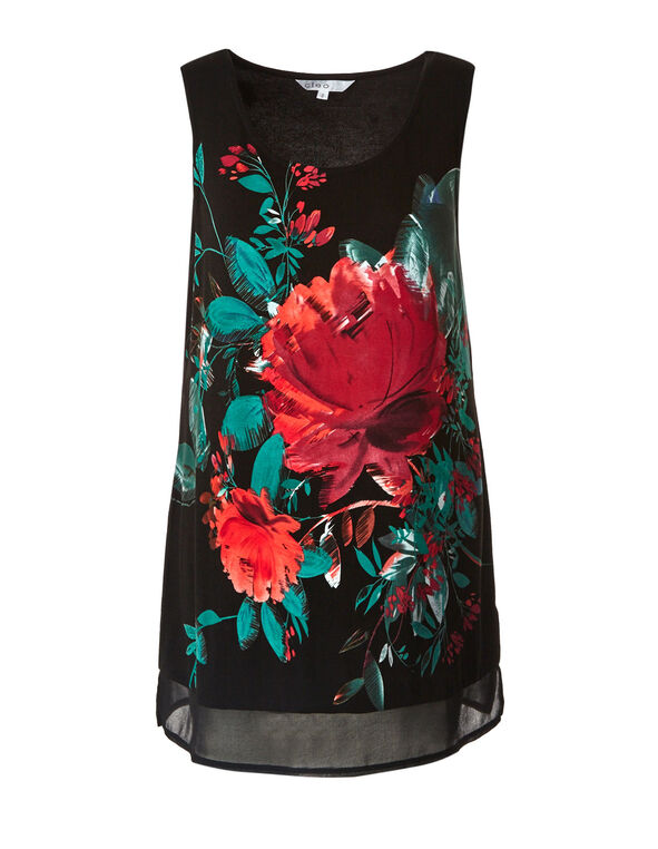 Black & Red Floral Top, Black/Red, hi-res