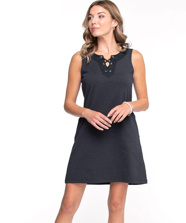 Cotton Tie Neck Slub Dress, Navy