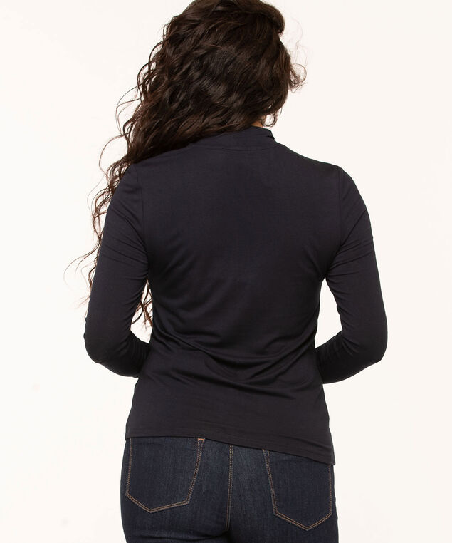 Low Impact Mock Neck Top, Navy, hi-res