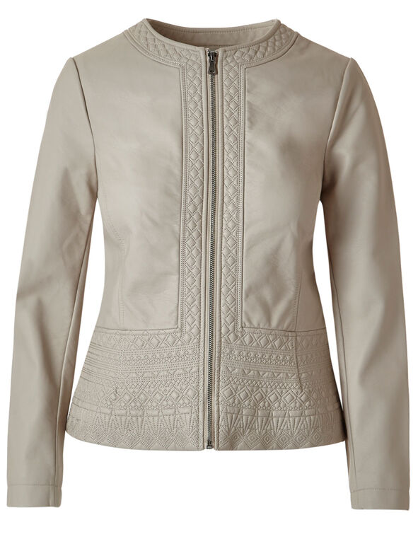 Diamond Stitch Faux Leather Jacket, Stone, hi-res
