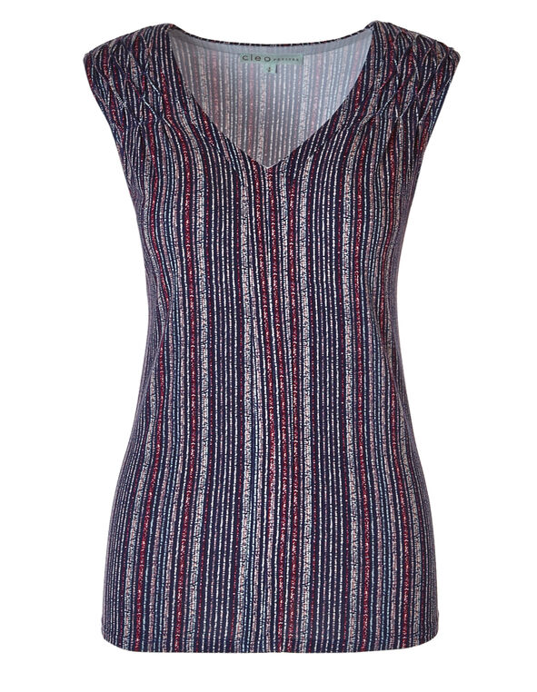 Striped Sleeveless Top, Multi, hi-res