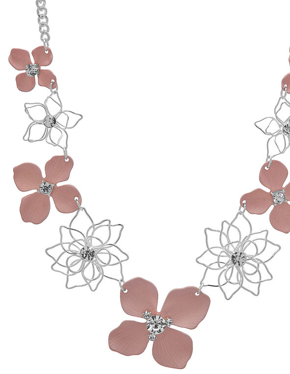 Pink Painted Short Statement Necklace, Pink/Silver, hi-res