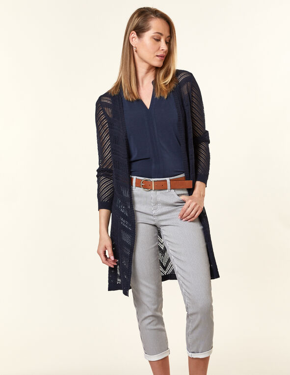 Navy Pointelle Long Cardigan, Navy, hi-res