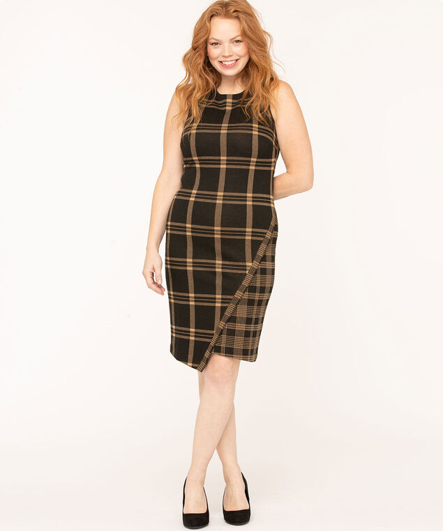 Plaid Jacquard Asymmetrical Hem Dress, Black/Camel, hi-res