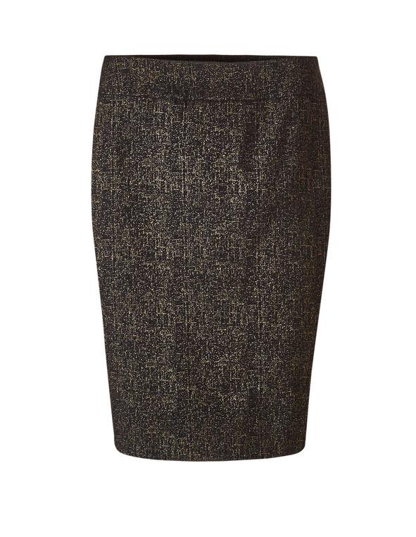 Black Shimmer Pencil Skirt, Black, hi-res