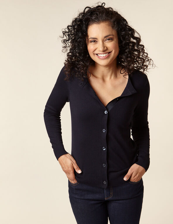 Navy Button Front Cardigan, Navy, hi-res
