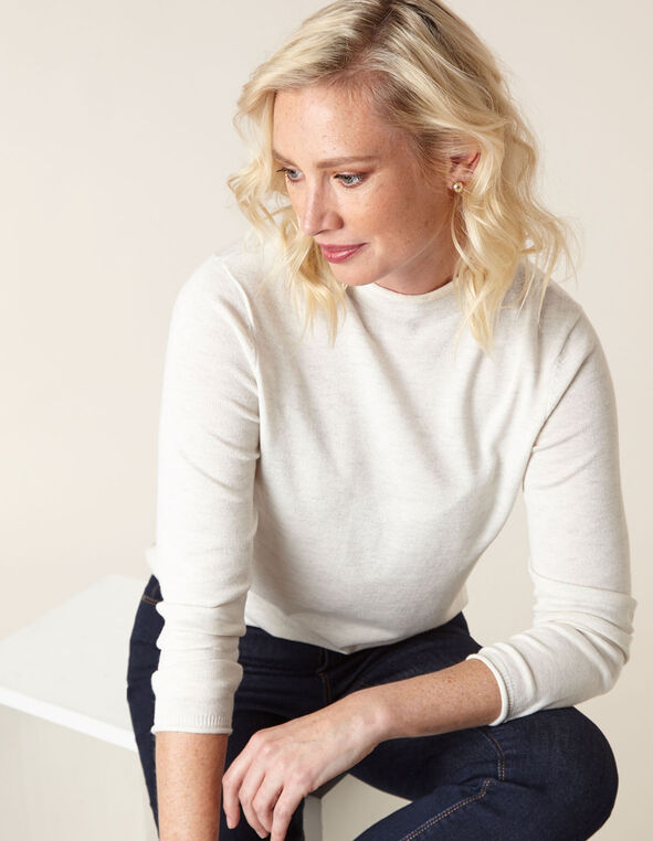 Ivory Recycled Mock Neck Sweater, Ivory, hi-res