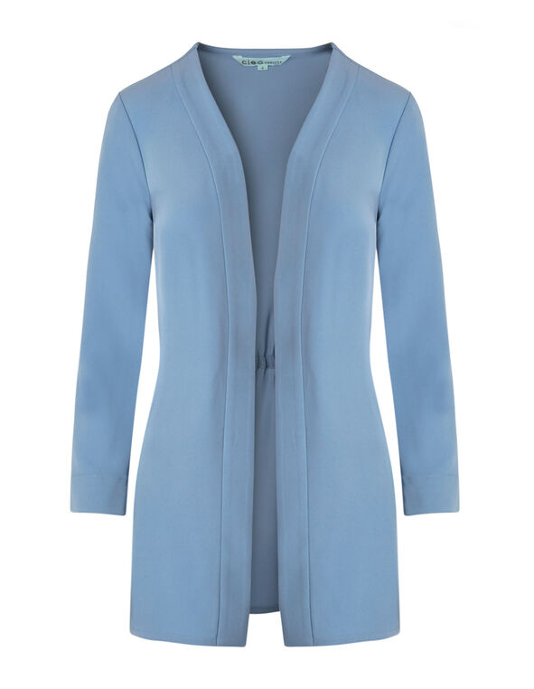 Dusty Blue Draped Blazer, Dusty Blue, hi-res