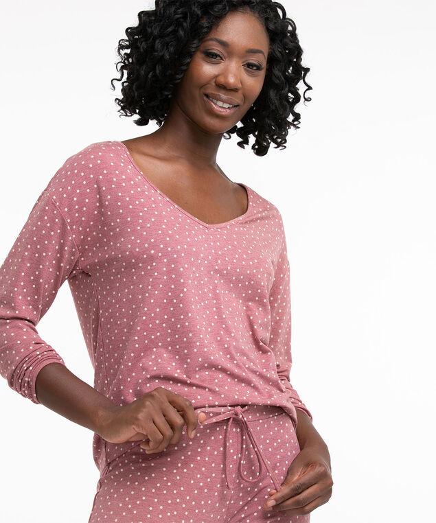 Super Soft Jogger Pyjama Set, Cranberry/Oatmeal Dot