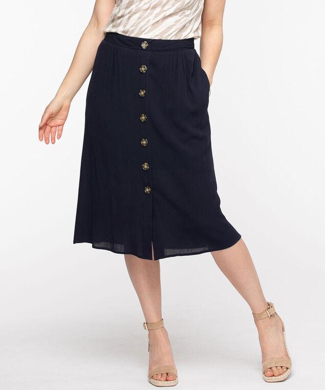Navy Button Front Midi Skirt, Navy