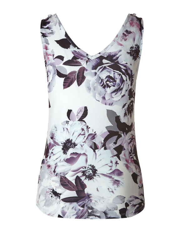 Purple Floral Bubble Crepe Top, White/Purple, hi-res