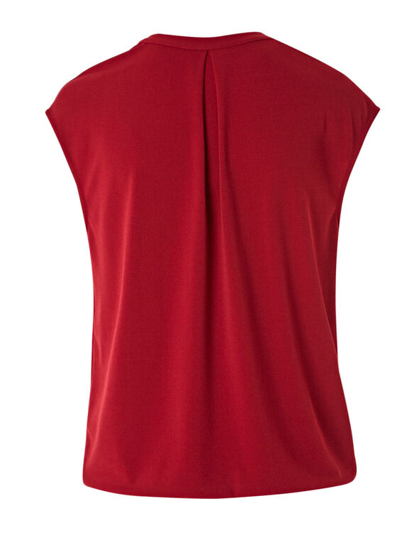 Red Bubble Hem Blouse, Red, hi-res