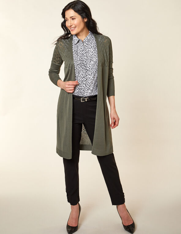 Olive Stitch Long Cardigan, Green/Olive, hi-res
