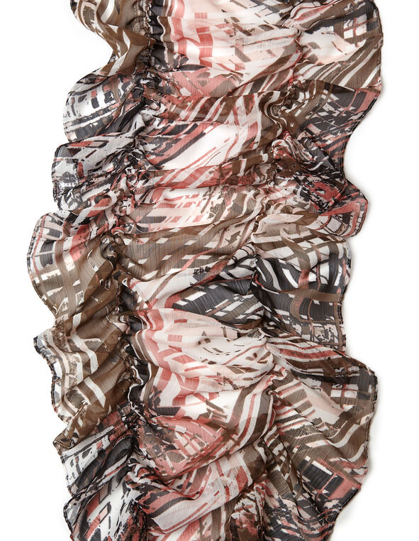 Pink Abstract Ruffle Scarf, Neutral/Pink, hi-res
