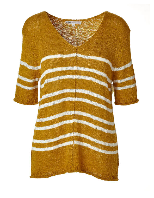 Ochre Striped Lightweight Sweater, Mustard, hi-res
