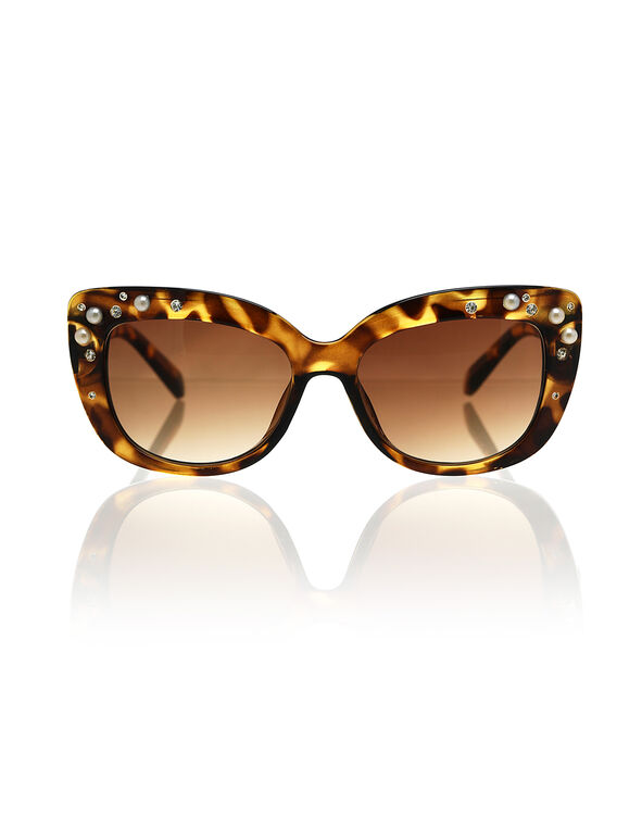 Pearl & Rhinestone Sunglasses, Brown, hi-res