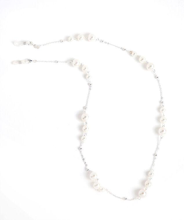 Pearl & Silver Mask & Sunglasses Chain, Silver/Pearl