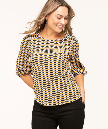 Gold Striped Crepe Top, Gold/Black/Grey/Ivory, hi-res