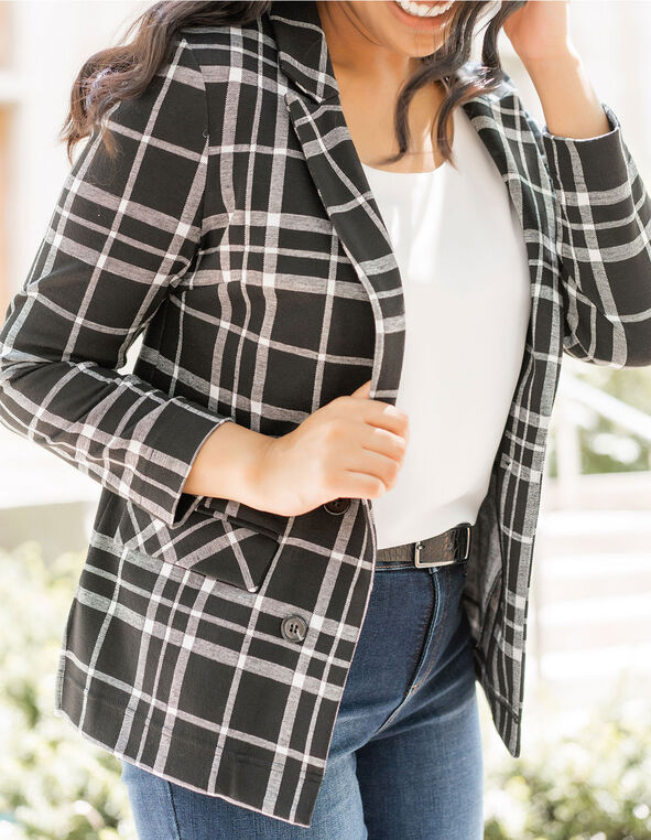 Black Plaid Open Knit Blazer, Black, hi-res