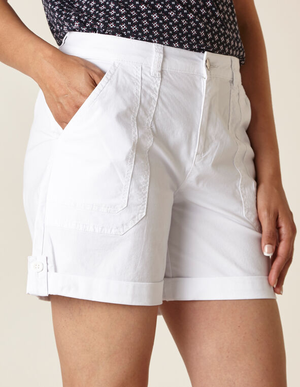 White Poplin Short, White, hi-res