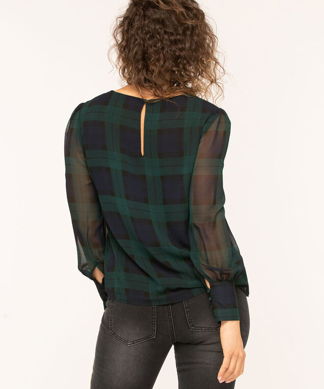 Blackwatch Plaid Scoop Neck Blouse, Forest Green/Navy/Black, hi-res