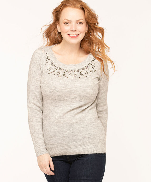 Grey Jewel Detail Sweater, Grey Mix