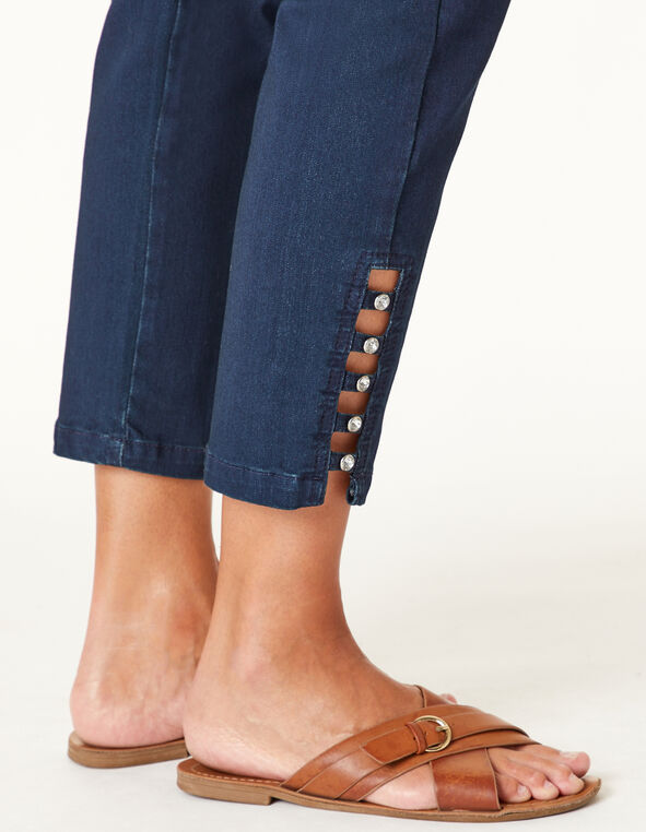 Dark Wash Bling Ankle Jean, Navy, hi-res
