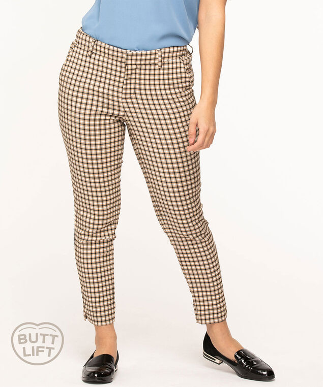 Plaid Butt Lift Slim Ankle Pant, Camel Plaid