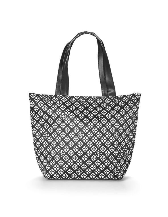 Black Patterned Lunch Tote, Black, hi-res