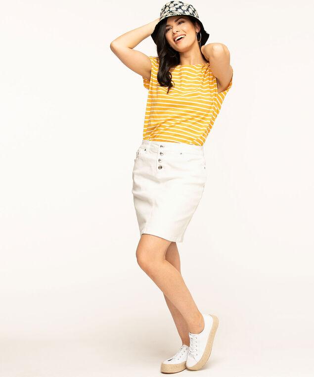 White Button Front Jean Skirt, White