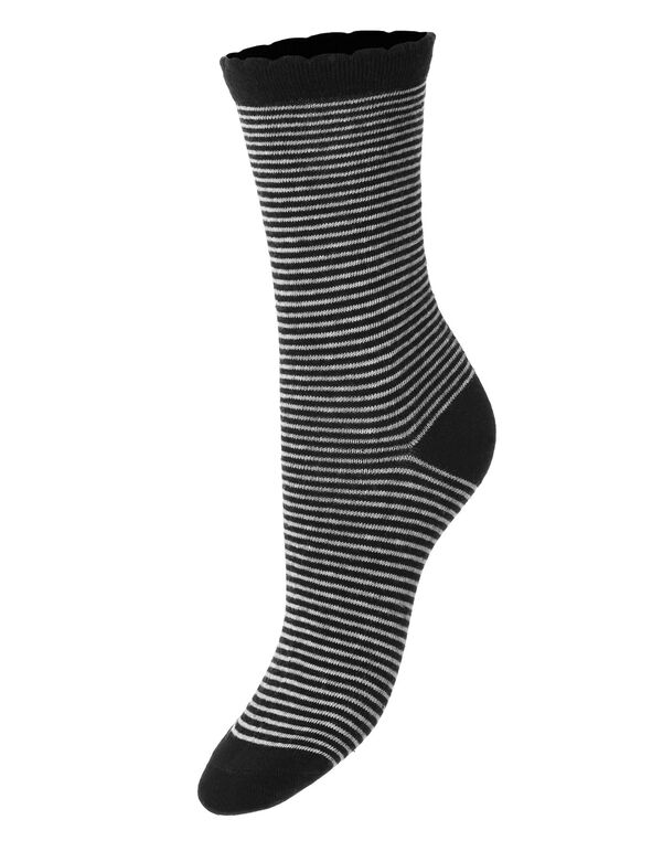 Black Striped Crew Sock, Black/Grey, hi-res