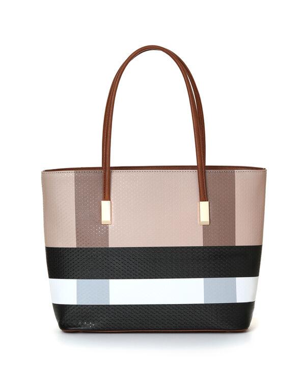 Brown Plaid Tote Handbag, Neutral/Brown, hi-res