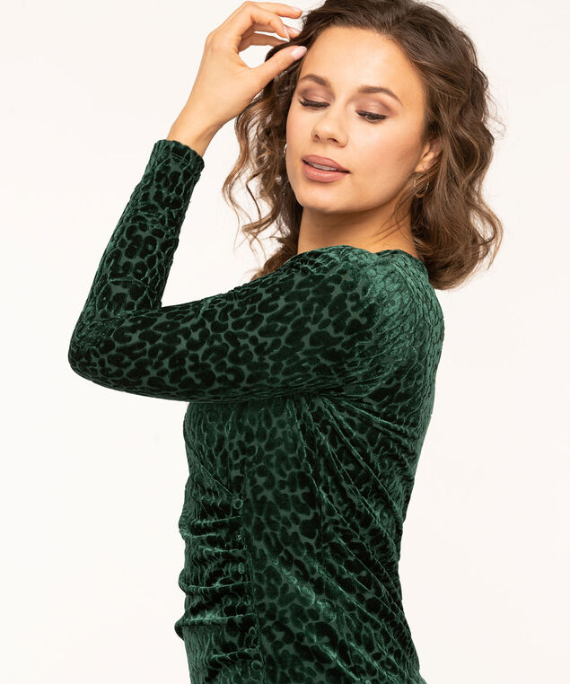 Green Velour Burnout Wrap Top, Forest Green