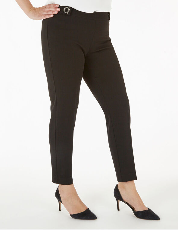 Black Grommet Slim Leg Pant, Black, hi-res