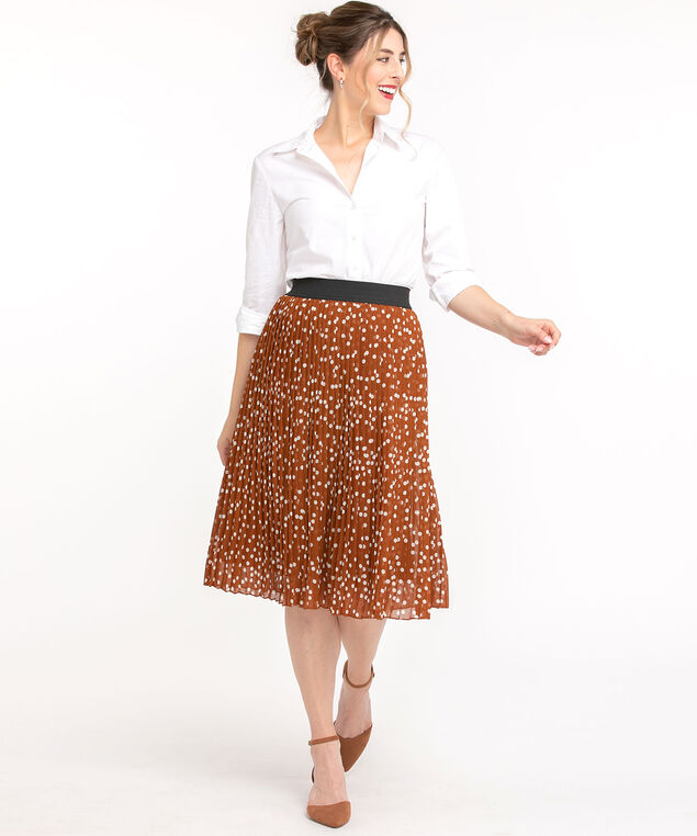 Pleated Chiffon Midi Skirt, Cider/Ivory Dot