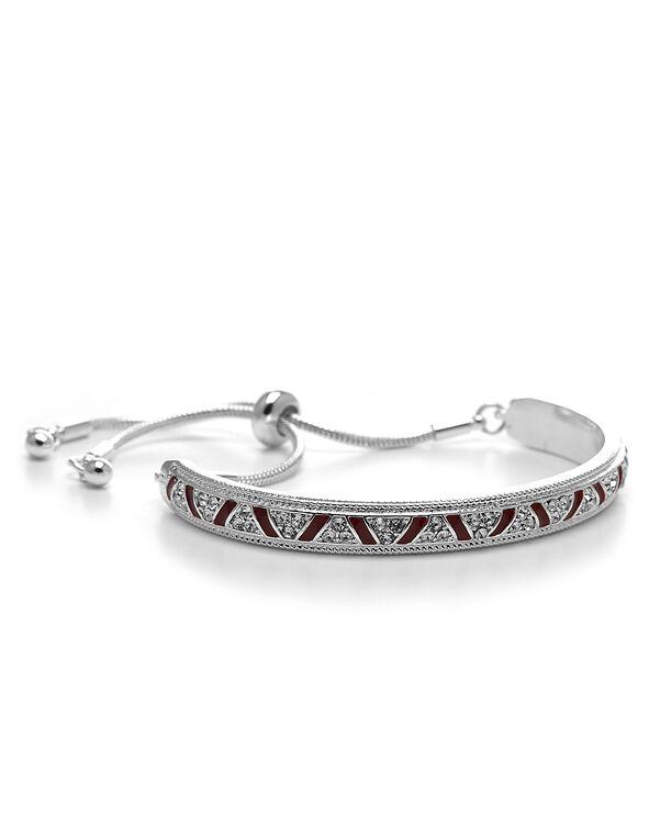 Red Accent Adjustable Bracelet, Silver/Red