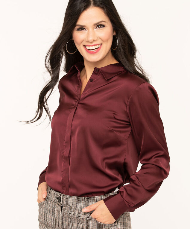 Mulberry Satin Finish Collared Blouse, Mulberry, hi-res