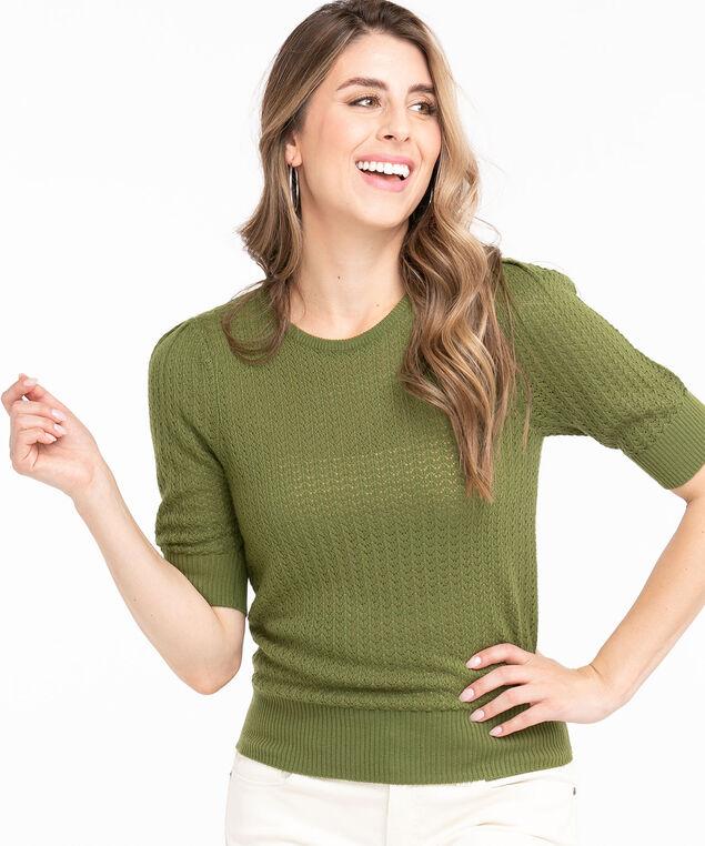 Pointelle Knit Puff Sleeve Sweater, Pesto