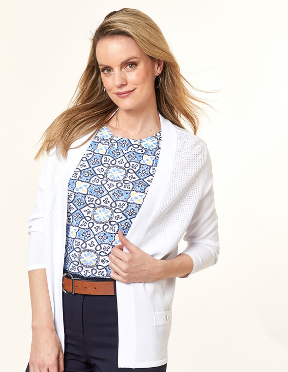 White Pointelle Knit Cardigan, White, hi-res