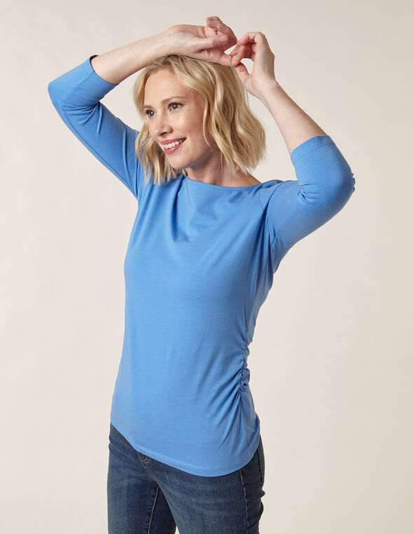 Light Blue Side Ruched Tee, Blue/Light Blue, hi-res