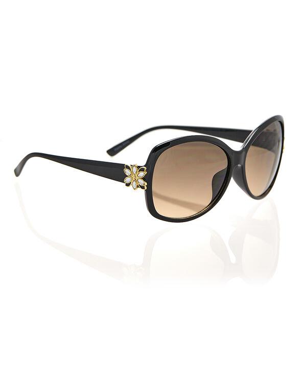 Black Flower Crystal Sunglasses, Black, hi-res