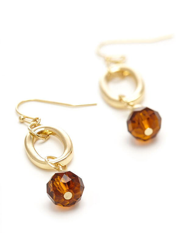 Gold Swirl Bead Earring, Gold, hi-res