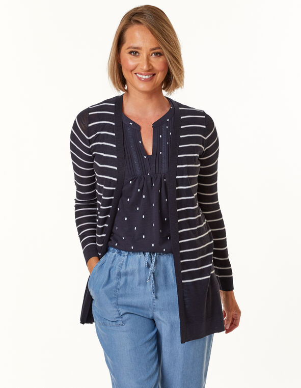 White Striped Cardigan, Navy, hi-res